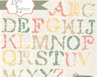 Instant Download - Vintage Leafy Alphabet, digital clip art and photoshop brushes: Commercial and Personal Use