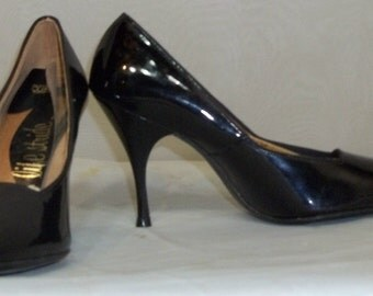 Vintage 1950's Life Stride Patent Faux Leather Kitten Heels Pumps 6 AA Black