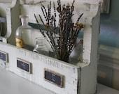 Reclaimed Pallet Wood Cottage White Organizer- Wine Rack- Plate Rack- Magazine or Book Shelf