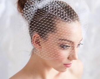 Birdcage veil , white birdcage veil, ivory birdcage veil, 9 inch birdcage veil -ready to ship - FREE SHIPPING*