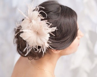 Feather flower, bridal headpiece, blush headpiece - style 1110 -ready to ship - FREE SHIPPING*