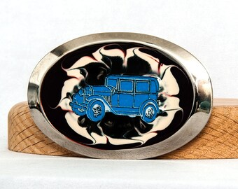 Ford Model T Dark Red White Swirl Belt Buckle