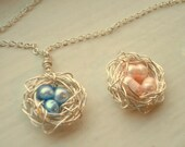 Nest Necklace Bird Nest Necklace Baby Shower Gift Nest Jewerly Mom Sister Friend Expecting Pregnancy Nest Serenity Blue and Pink Blush Beads