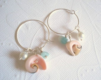 Seashell Earrings Shell Earrings Silver Hoop Earrings Pearl Earrings Beach Earrings Seashell Jewelry