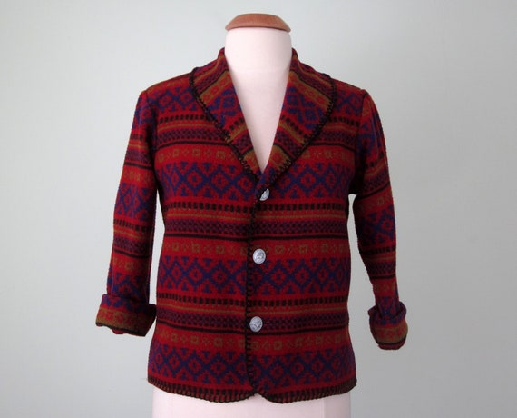 80s jacket / southwest ethnic print wool red blazer coat (s - m)