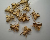 12 small brass flying insect charms