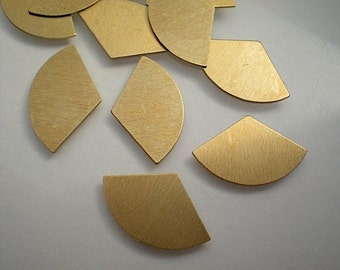 12 small flat brass fan shape/one-third circle stamping blanks