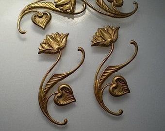 4 brass long stemmed flower stampings