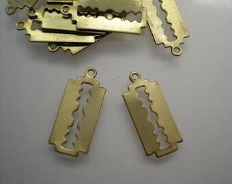 12 brass razor blade charms