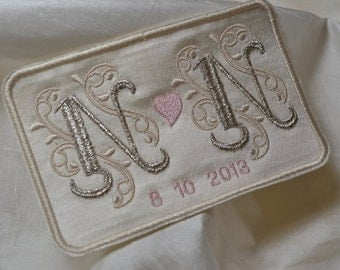 Custom Embroidered Wedding Dress Label French Silk Satin and Silver Thread Custom Embroidered Wedding Dress Label French Silk Satin and Gold
