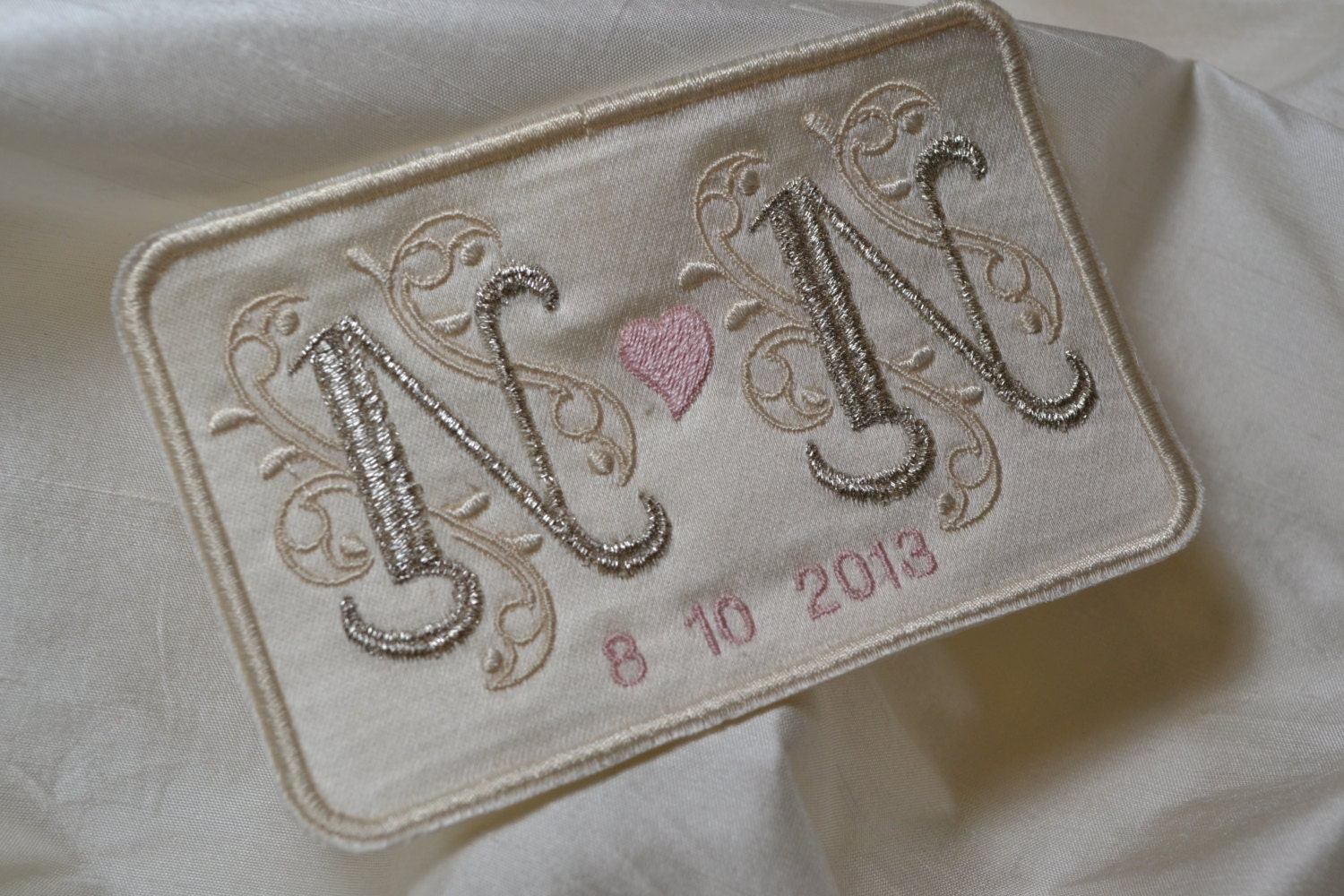 Custom embroidered wedding dress label french silk satin and