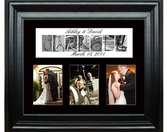 "16""x20"" Personalized  Wedding Mat with 3- 5""x7"" openings Architectural Letter Art"