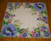 Vintage Printed Blue Pink Yellow Flowers Handkerchief Hanky Scallop Edge Hankie Colorful Pretty Decorative