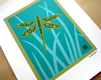 Dragonfly in Grass Art print