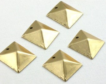 12 gold faceted SQUARE jewelry charms. 14mm (S50). Please read description