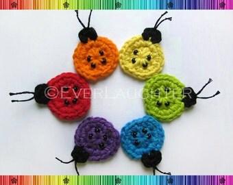 PATTERN-Crochet Ladybug Applique-Detailed Photos
