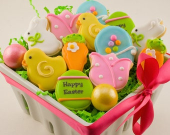 Easter Cookies, Assorted EASTER PETITES Bunny, Chick, Easter Egg, Tulip and Carrot Cookies - (12 bite size cookies)
