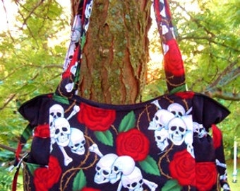 Skulls and Roses - Handbag, Purse, Tote, Shoulder Bag, Outside Pockets