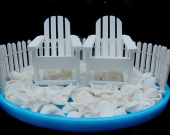 DIY Cake Topper Kit -  Beach Wedding Kit  - Adirondack Chairs and Fence and Seashells and Starfish - For Cakes and Centerpieces