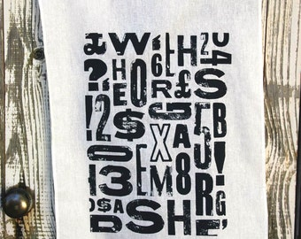 Tea towel - Type design screen printed on linen and cotton