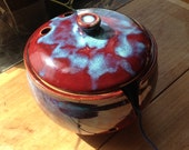 Yarn Bowl with Lid in Brick Red & Turquoise blues