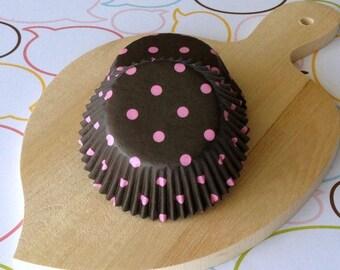 SALE - Dark Brown/Pink Polka Dots Standard Cupcake Liners