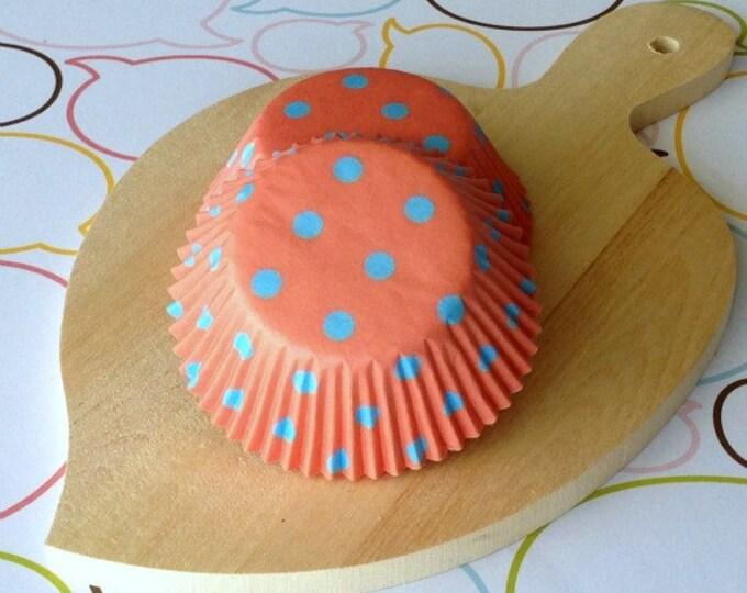 SALE - Blue Polka Dots/Peach Cupcake Liners