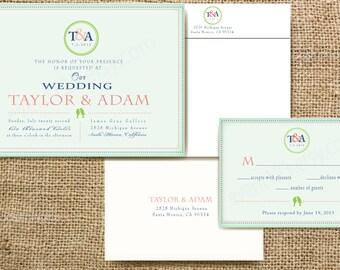 Custom Monogram Wedding Invitation Sample Packet - Monogram Invitation