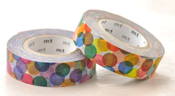 mt Washi Masking Tape - Colourful Spots Red & Yellow - Set 2 (15m rolls)