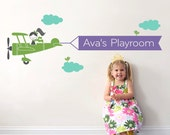 Airplane Wall Decal Girls Name Banner Baby Nursery Kids