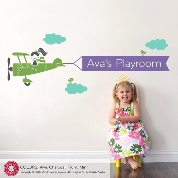Airplane Wall Decal Girls Name Banner Baby Travel Theme Nursery Kids Playroom