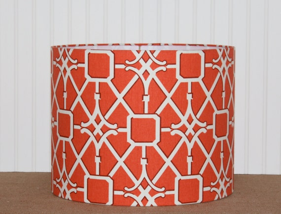 drum lamp shade lampshades coral trellis waverly by sassyshades. Black Bedroom Furniture Sets. Home Design Ideas