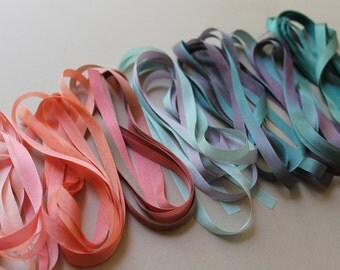 Coral Reef Mix - 14 metres of 7mm silk ribbon