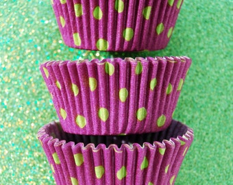 Purple with Lime polka dots Standard Cupcake Liners 50
