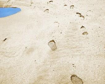 Beach Footprints Landscape Photograph - 10x8 - summer, vacation, holiday, coast, sea, seashore, bathroom decor, wall art