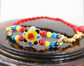 Oriental Miao bracelet - jade, hematite and cloisonne