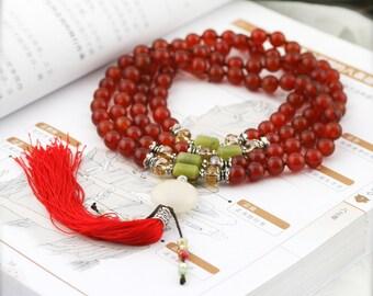 Pacifying 108 japa mala (JM) - carnelian, serpentine and jade