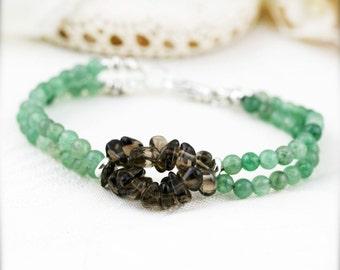 Protection and optimistic bracelet (unisex) - aventurine and smoky quartz