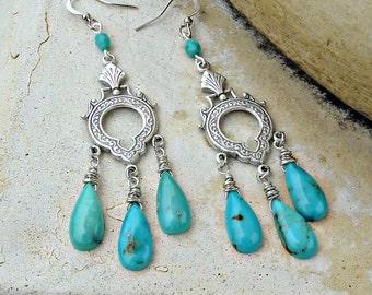 Tibetan Turquoise and Silver Chandelier Earrings - Dangle, Genuine Natural Gemstone, Art Deco