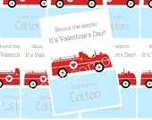 Firetruck Printable Valentine Cards
