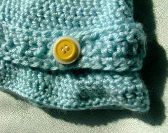 Crochet Blue Cap, Yellow Button