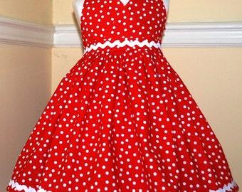 Summer dress Sundress Strawberry polka dot halter dress for girls infants and toddlers
