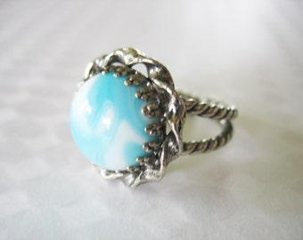 Glass Statement Ring 1960 West Germany Marbled Blue White Silvertone Braided Base Adjustable