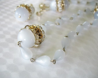 Vtg Lucite Moonglow Necklace Earrings Blue Gray Caged Beads Teardrops 1950's