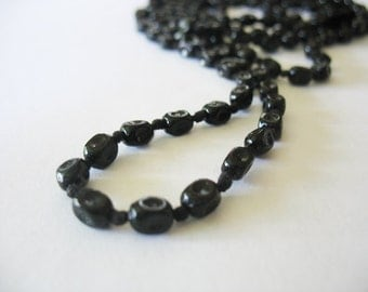 Vintage Rope Necklace, Glass Beaded Necklace, Long Length, Flapper Style, Black, Hand Knotted, 1930s