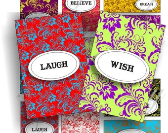 Inspirational words on damask background images for cards, ACEO, ATC, scrapbook and more Digital Collage Sheet 3 X 2 inch No.1137