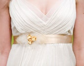 Bryn Flower Belt: gold flowers, cream tulle - ready to ship