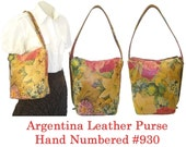 Vintage FLORAL LEATHER PURSE Hand Numbered from Cuero Vaca Argentina