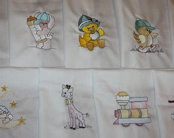 Baby Boy Machine Embroidered Quilt Blocks Set
