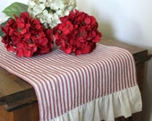 Ruffled Striped Ticking Cotton Table Runner  - Select from Several Lengths and Colors